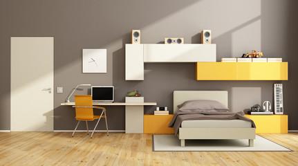 Brown and orange teenage boy bedroom