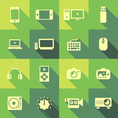 Vector Flat Icon Set - Electronic Gadgets