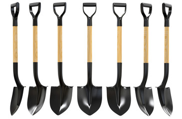 Shovel with wood handel set 3d illustration