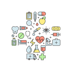 Medical and science vector multicolored cross illustration. Modern outline minimalistic design.