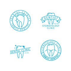 Dental clinic line logo templates. Stomatology clinic outline labels set. Vector icons
