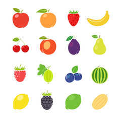 Fruits retro illustration. Different fruits in vintage style. Vector illustration