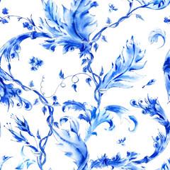 Blue watercolor flower vintage seamless pattern