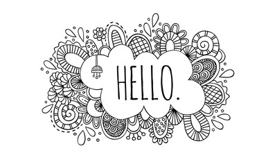 Hello Doodle Vector Lineart Black & White