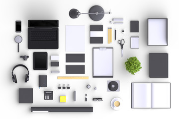 Set of variety blank office objects