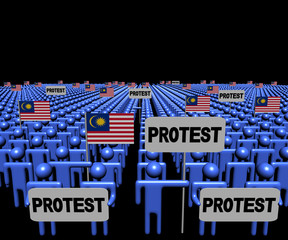 Crowd of people with protest signs and Malaysian flags illustration