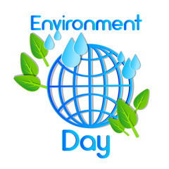 World Environment Day Earth Planet Globe Water Drops Leaves