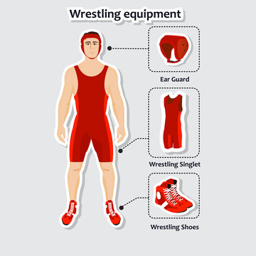 Set of wrestling equipment with man. Singlet, shoes and ear guard.