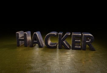 Hacker, 3D, Typography,