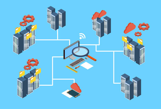 Database Server Search Data 3d Isometric Design