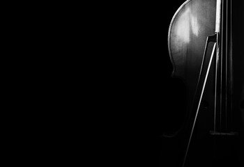 Cello on a black background.