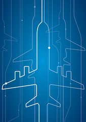 Abstract airplane white lines, vector design lines background, aviation wallpaper