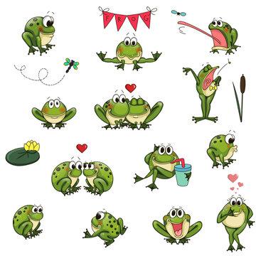 Emotional cute frogs Cartoon character - vector set
