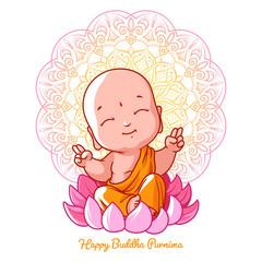 Little meditating Buddha on the lotus.