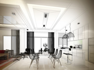abstract sketch design of interior dining and kitchen room ,3d