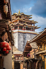 view of the golden temple in historical old town in chinese