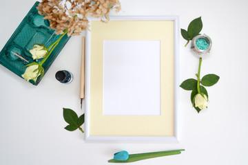 Natural vintage mock up, white paper frame.