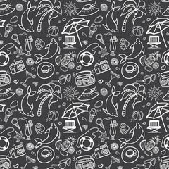 Summer holidays seamless pattern. Vector illustration for web, print, textile and advertisment. Hand-drawn summer doodle pattern on black background.