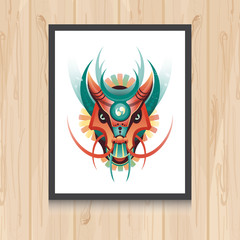 Geometric vector dragon concept on wooden background. Vector illustration for t-shirt print, tatto, web and mobile.
