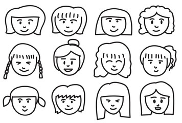 Collection of girls freehand drawing emoticons.