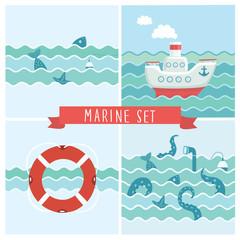 illustration of fish, float, marine elements