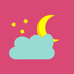 Moon with three stars and a cloud