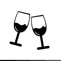 Two glasses of wine or champagne icon Illustration design