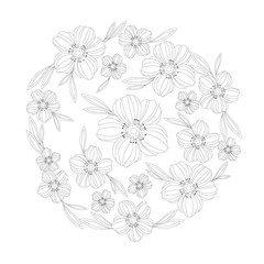 PrintAdult Coloring Book Floral Pattern - vector eps 10