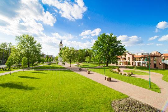 small park in Kistelek, Hungary