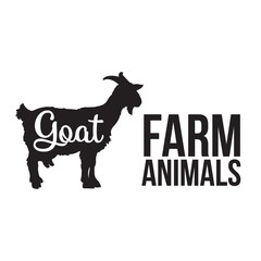Black contour farm animal with a white lettering  inscription inside, Logo goat vector animal, outline for the product, vector illustration contour farming goat with lettering on the mutton meat