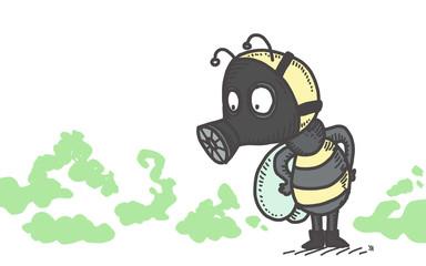Abeille avec masque à gaz pour se protéger des pesticides