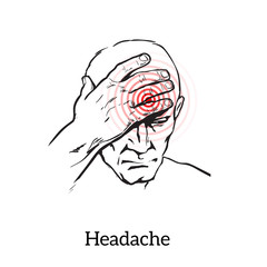 Picture a man with a headache, illustration sketch of a man who holds his hand to his head, pain in the head of a man, the concept of sickness or disease in the human head