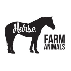 Black contour horse farm animal with a white lettering  inscription inside, Logo horse vector animal, outline for product, vector illustration contour farming horse with lettering on the mutton meat