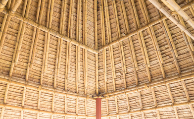 Leaf roof is make with bamboo by  hand made