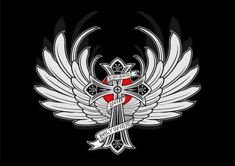 winged cross vector