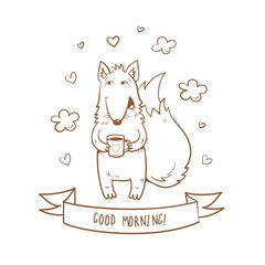 Vector card with cute cartoon fox and a cup of tea. Wishing good morning. Vector image. Children's illustration. Transparent background. The contour image.
