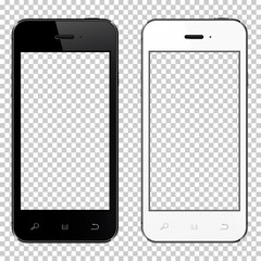 Realistic smartphones with transparent screen isolated on transparent background