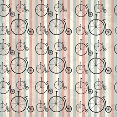 Seamless bicycle vector pattern. Hipster background. Can be used in textiles, for book design, website background.