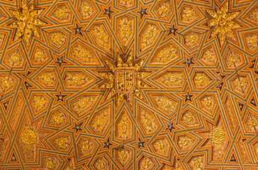 SEGOVIA, SPAIN, APRIL - 14, 2016: The mudejar carved and polychrome ceiling of sala capitular in church Monasterio de San Antonio el Real from 15. cent.
