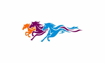 Three Horse logo abstract vector