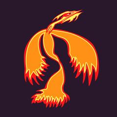Phoenix bird rising from the ashes. Flaming Magic Fairy Bird. Phoenix bird vector template. Phoenix az.Flying Phoenix, logo, rebirth symbol. Luxury creative Logotype icon, tattoo. Vector illustration