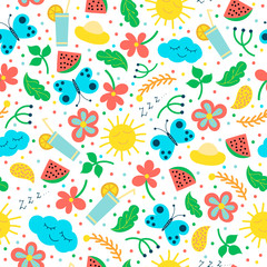 Seamless pattern with hand drawn objects: sun, cloud, flowers, leaves, cocktail, butterfly.