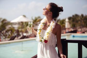 Hawaii vacation woman with mojito cocktail happy on Hawaiian hol