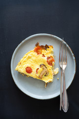 Omelet with cherry tomatoes and shiitake mushrooms