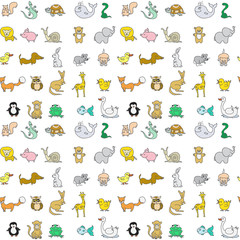 Baby animals icons seamless pattern isolated on white
