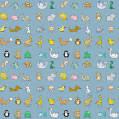 Baby animals icons seamless pattern