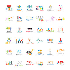 Children Icons Set-Vector Illustration,Graphic Design. Kids Concept