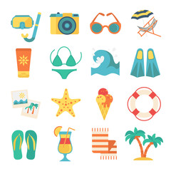Beach Icon Flat Set