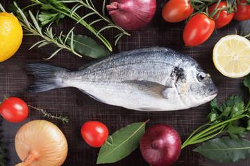 Raw gilt-head bream fish