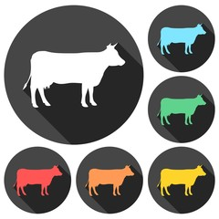 Cow silhouette icons set with long shadow